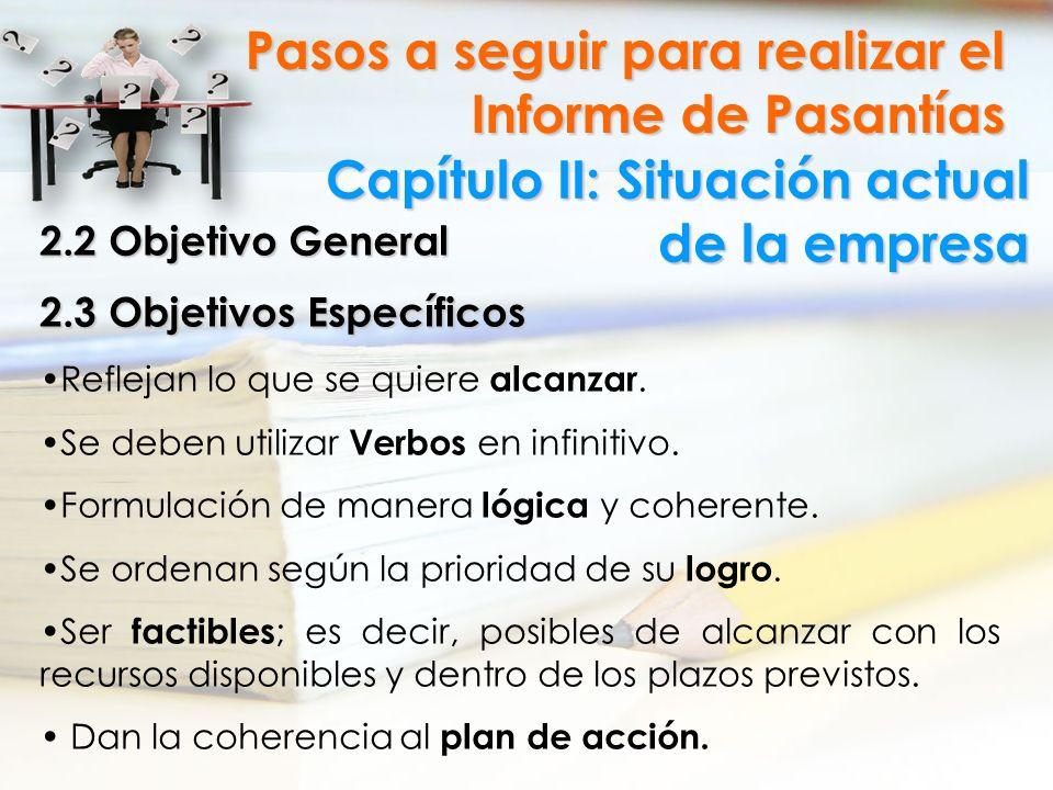 Capítulo II: Situación actual de la empresa Pasos a seguir para realizar el Informe de Pasantías 2.2 Objetivo General 2.3 Objetivos Específicos Reflej