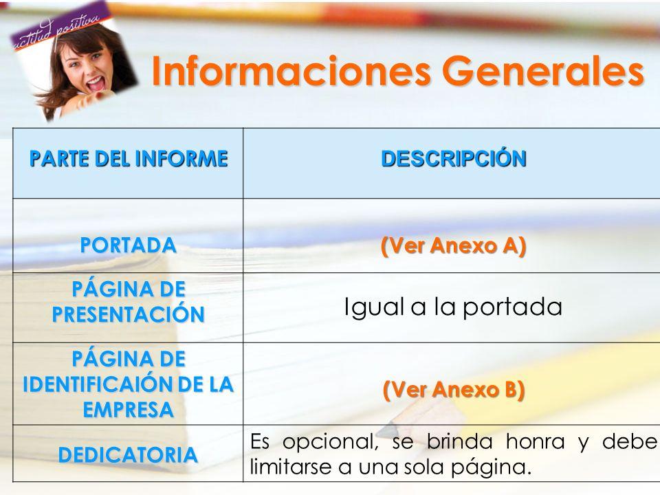 PARTE DEL INFORME DESCRIPCIÓNPORTADA (Ver Anexo A) PÁGINA DE PRESENTACIÓN Igual a la portada PÁGINA DE IDENTIFICAIÓN DE LA EMPRESA (Ver Anexo B) DEDIC