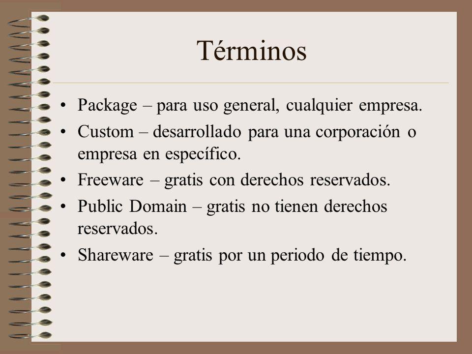 Términos Package – para uso general, cualquier empresa. Custom – desarrollado para una corporación o empresa en específico. Freeware – gratis con dere