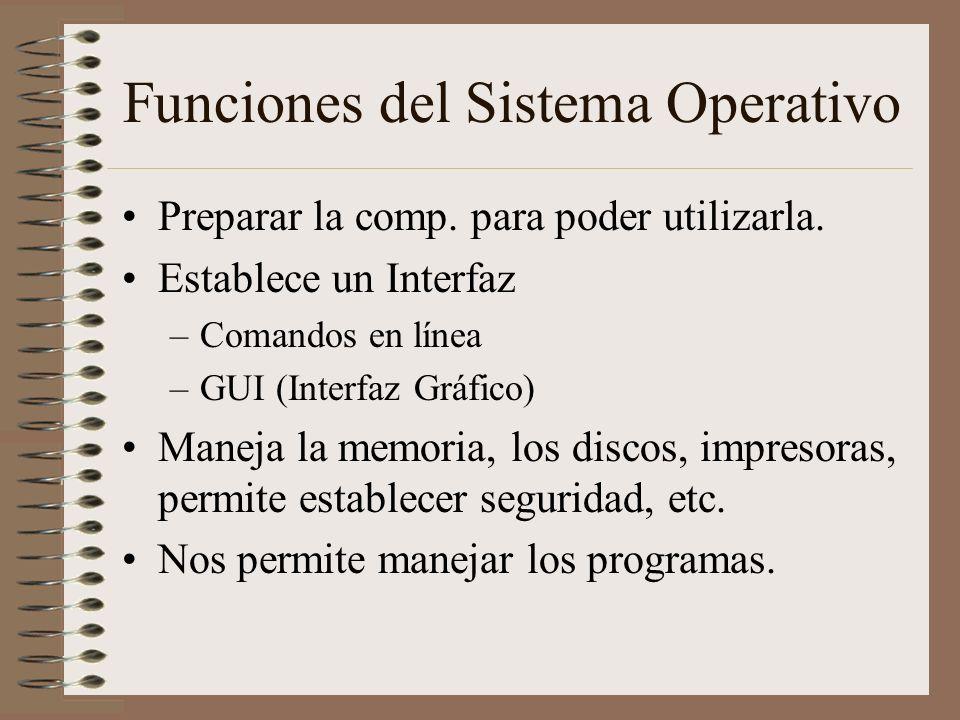 Funciones del Sistema Operativo Preparar la comp. para poder utilizarla. Establece un Interfaz –Comandos en línea –GUI (Interfaz Gráfico) Maneja la me