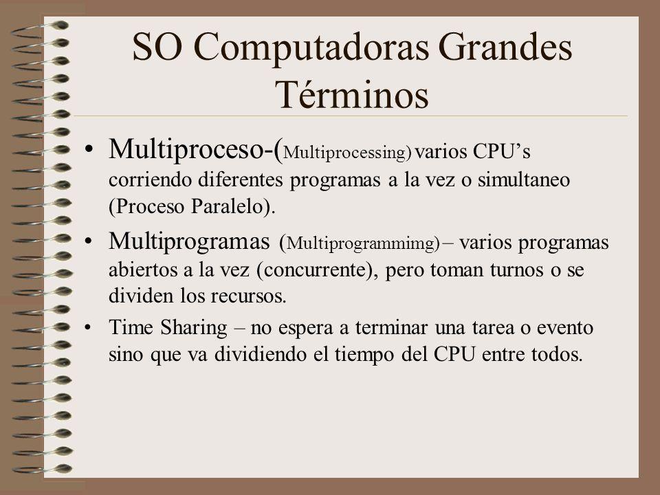 SO Computadoras Grandes Términos Multiproceso-( Multiprocessing) varios CPUs corriendo diferentes programas a la vez o simultaneo (Proceso Paralelo).