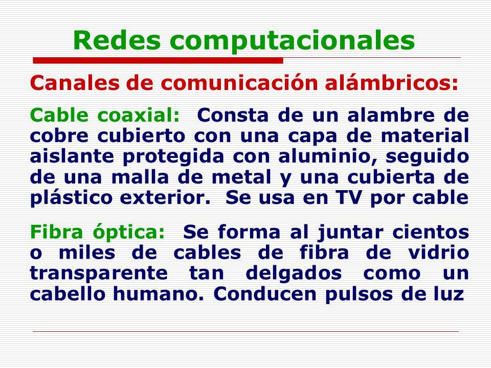Redes computacionales Canales de comunicación alámbricos: Cable coaxial: Consta de un alambre de cobre cubierto con una capa de material aislante prot