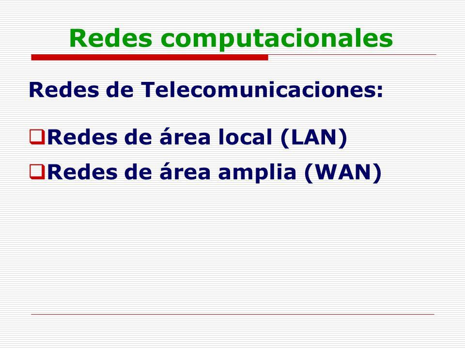 Redes computacionales Redes de Telecomunicaciones: Redes de área local (LAN) Redes de área amplia (WAN)
