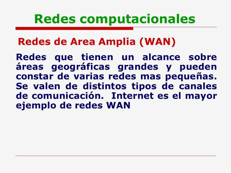 Redes computacionales Redes de Area Amplia (WAN) Redes que tienen un alcance sobre áreas geográficas grandes y pueden constar de varias redes mas pequ