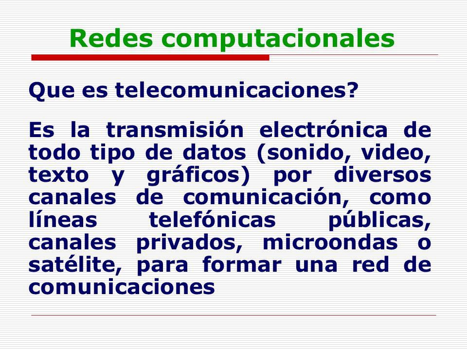 Redes computacionales Que es telecomunicaciones? Es la transmisión electrónica de todo tipo de datos (sonido, video, texto y gráficos) por diversos ca