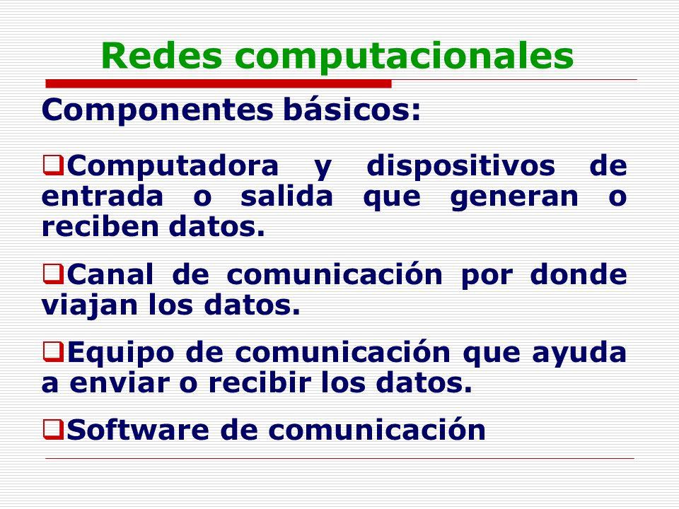 Redes computacionales Componentes básicos: Computadora: Conjunto de tecnologías que efectúa cuatro operaciones básicas: Acepta entradas, produce salidas, procesa información y almacena información M á quina compuesta por dispositivos f í sicos (hardware) y l ó gicos (Software) capaz de realizar c á lculos a grandes velocidades