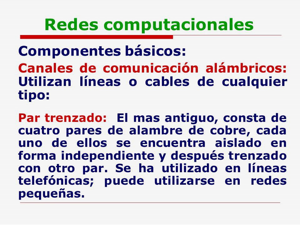Redes computacionales Componentes básicos: Canales de comunicación alámbricos: Utilizan líneas o cables de cualquier tipo: Par trenzado: El mas antigu