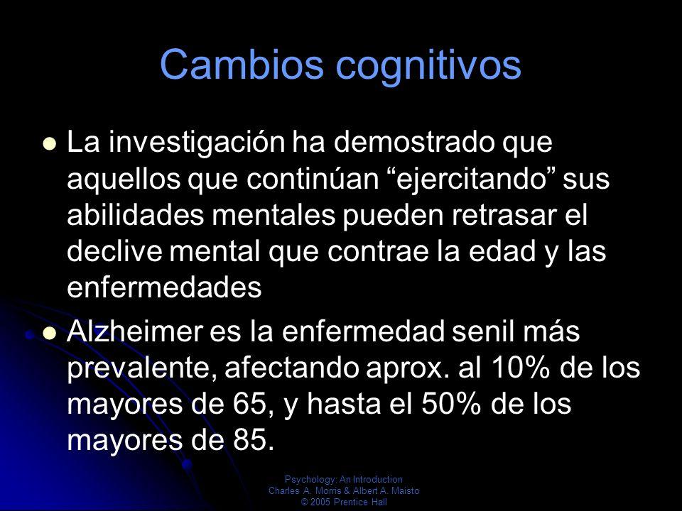 Psychology: An Introduction Charles A. Morris & Albert A. Maisto © 2005 Prentice Hall Cambios cognitivos La investigación ha demostrado que aquellos q