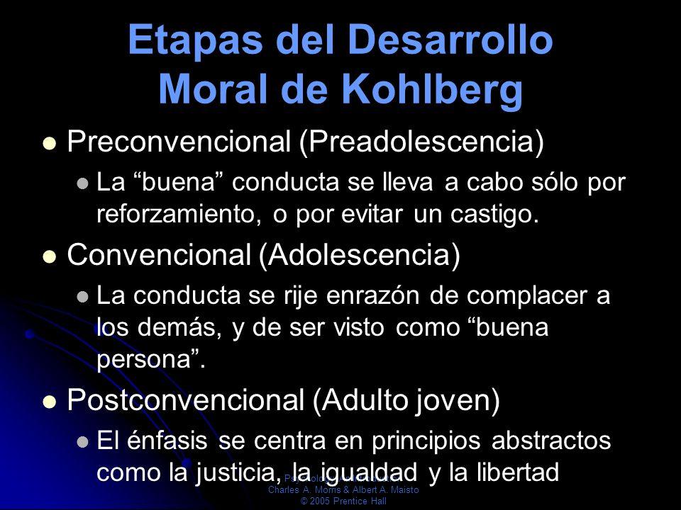 Psychology: An Introduction Charles A. Morris & Albert A. Maisto © 2005 Prentice Hall Etapas del Desarrollo Moral de Kohlberg Preconvencional (Preadol
