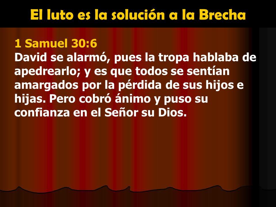 El luto es la solución a la Brecha 1 Samuel 30:6 David se alarmó, pues la tropa hablaba de apedrearlo; y es que todos se sentían amargados por la pérd
