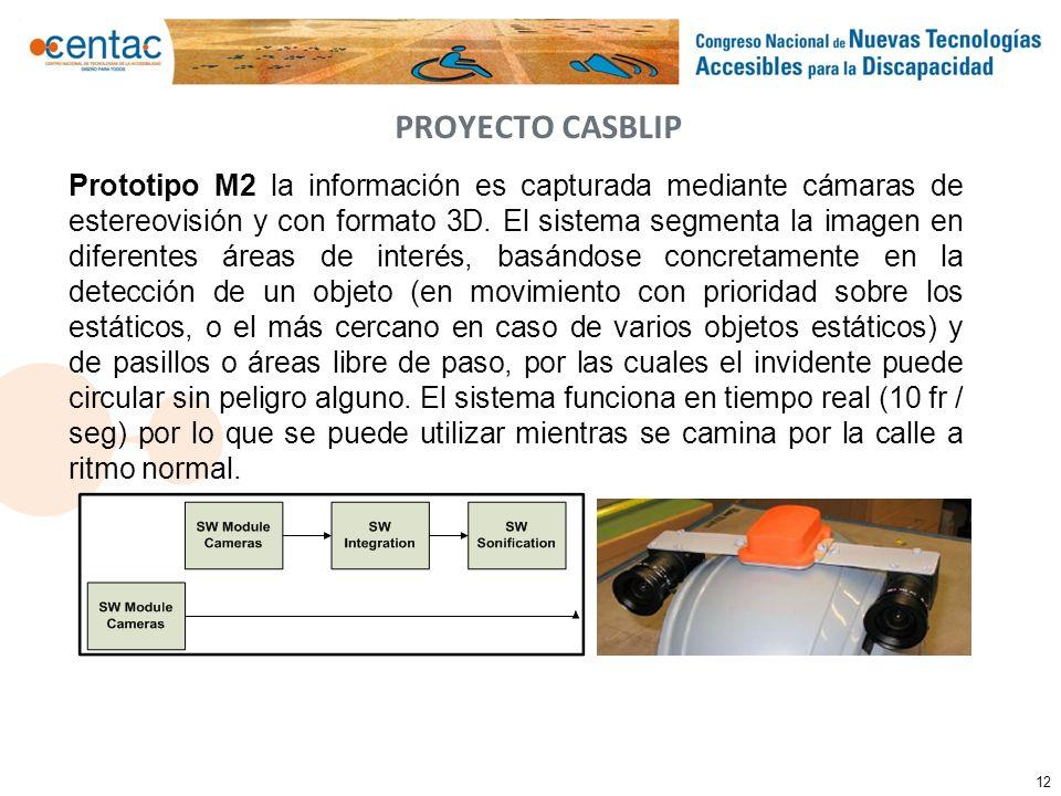 12 PROYECTO CASBLIP Prototipo M2 la información es capturada mediante cámaras de estereovisión y con formato 3D. El sistema segmenta la imagen en dife