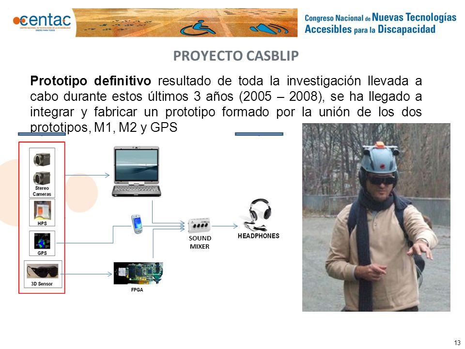 13 PROYECTO CASBLIP Prototipo definitivo resultado de toda la investigación llevada a cabo durante estos últimos 3 años (2005 – 2008), se ha llegado a