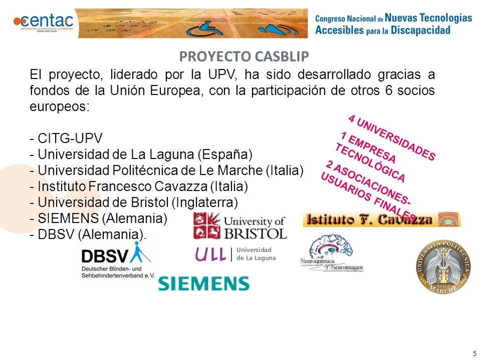 5 PROYECTO CASBLIP El proyecto, liderado por la UPV, ha sido desarrollado gracias a fondos de la Unión Europea, con la participación de otros 6 socios