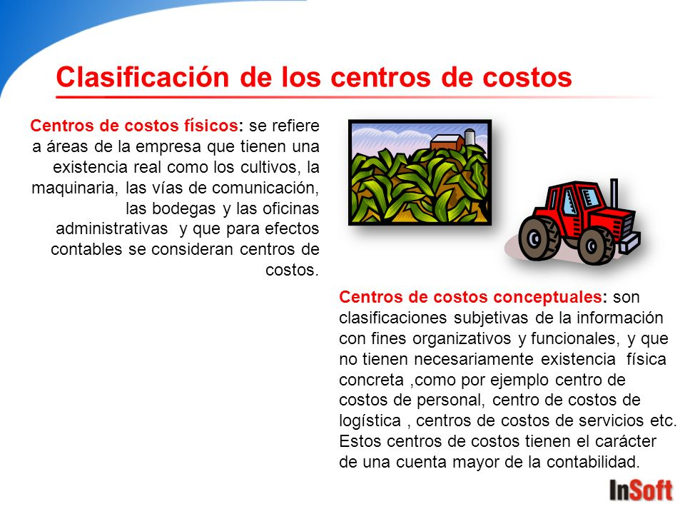 Centros de costos físicos: se refiere a áreas de la empresa que tienen una existencia real como los cultivos, la maquinaria, las vías de comunicación,
