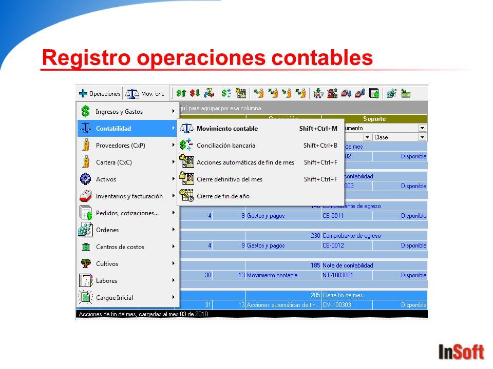 Registro operaciones contables