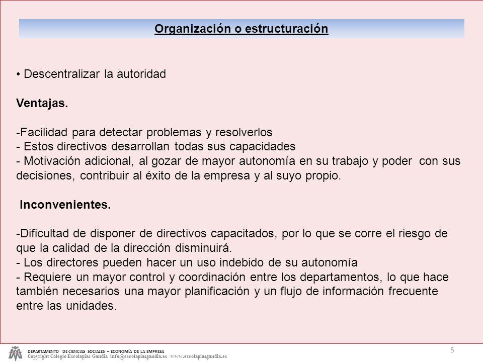 DEPARTAMENTO DE CIENCIAS SOCIALES – ECONOMÍA DE LA EMPRESA Copyright Colegio Escolapias Gandia info@escolapiasgandia.es www.escolapiasgandia.es 5 Orga