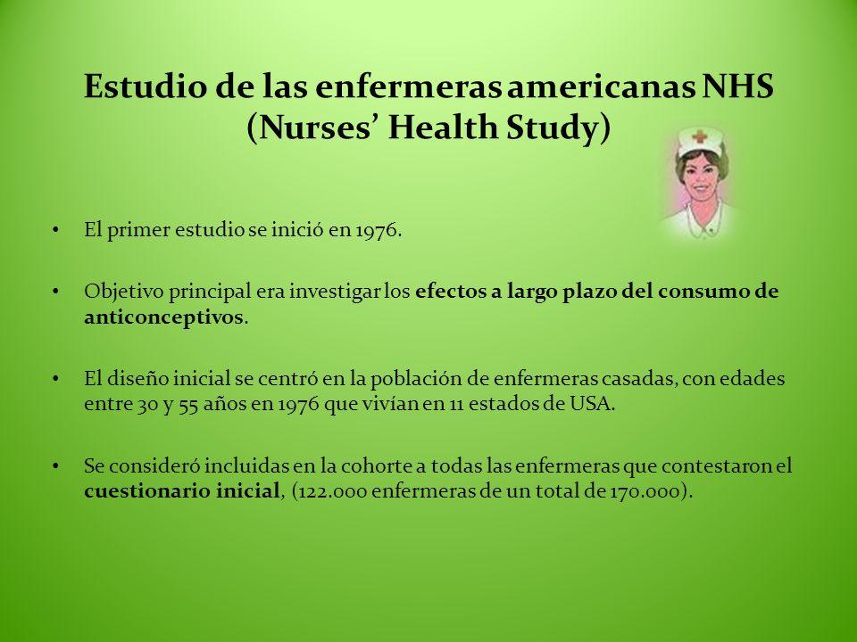 Estudio de las enfermeras americanas NHS (Nurses Health Study) El primer estudio se inició en 1976. Objetivo principal era investigar los efectos a la