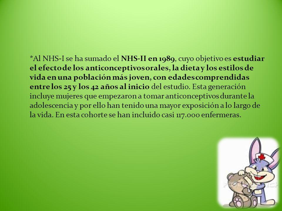 *Al NHS-I se ha sumado el NHS-II en 1989, cuyo objetivo es estudiar el efecto de los anticonceptivos orales, la dieta y los estilos de vida en una pob