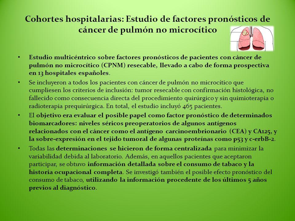 Cohortes hospitalarias: Estudio de factores pronósticos de cáncer de pulmón no microcítico Estudio multicéntrico sobre factores pronósticos de pacient