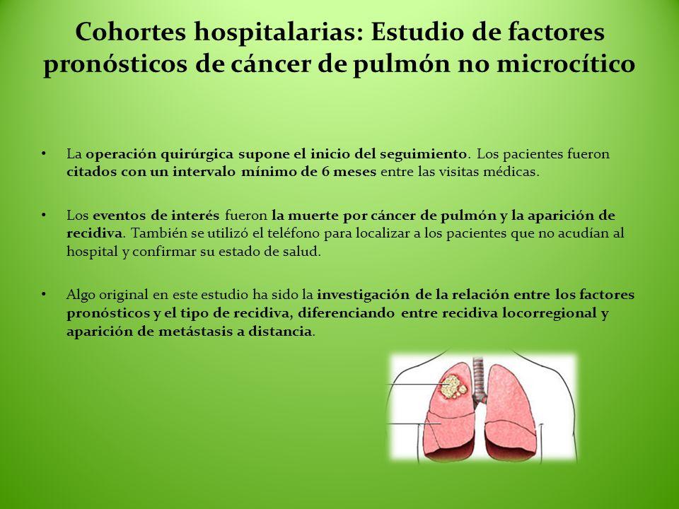 Cohortes hospitalarias: Estudio de factores pronósticos de cáncer de pulmón no microcítico La operación quirúrgica supone el inicio del seguimiento. L