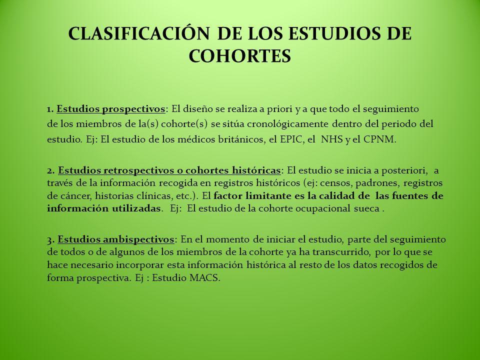 CLASIFICACIÓN DE LOS ESTUDIOS DE COHORTES 1. Estudios prospectivos: El diseño se realiza a priori y a que todo el seguimiento de los miembros de la(s)