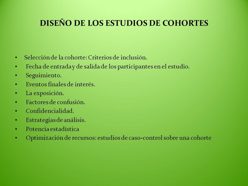 DISEÑO DE LOS ESTUDIOS DE COHORTES Selección de la cohorte: Criterios de inclusión. Fecha de entrada y de salida de los participantes en el estudio. S