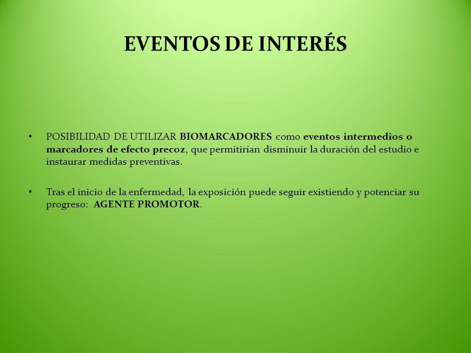EVENTOS DE INTERÉS POSIBILIDAD DE UTILIZAR BIOMARCADORES como eventos intermedios o marcadores de efecto precoz, que permitirían disminuir la duración
