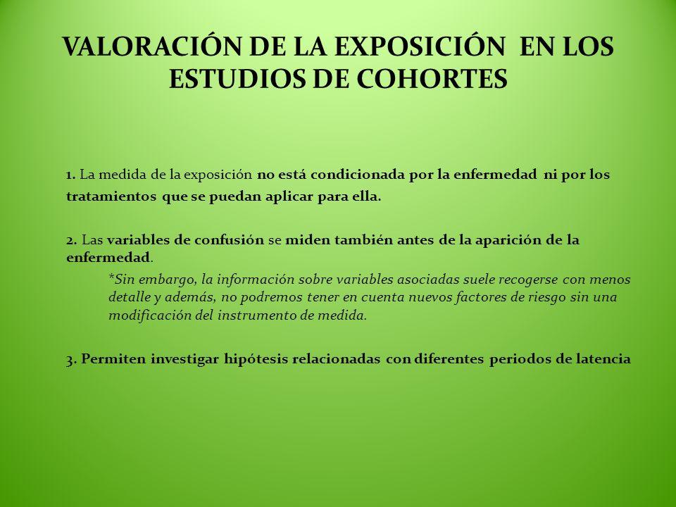 VALORACIÓN DE LA EXPOSICIÓN EN LOS ESTUDIOS DE COHORTES 1. La medida de la exposición no está condicionada por la enfermedad ni por los tratamientos q