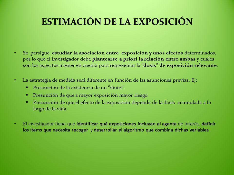 ESTIMACIÓN DE LA EXPOSICIÓN Se persigue estudiar la asociación entre exposición y unos efectos determinados, por lo que el investigador debe plantears