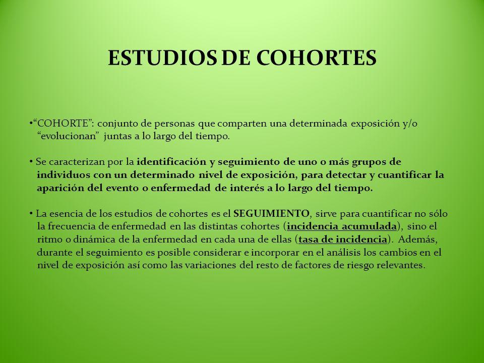 ESTUDIOS DE COHORTES COHORTE: conjunto de personas que comparten una determinada exposición y/o evolucionan juntas a lo largo del tiempo. Se caracteri