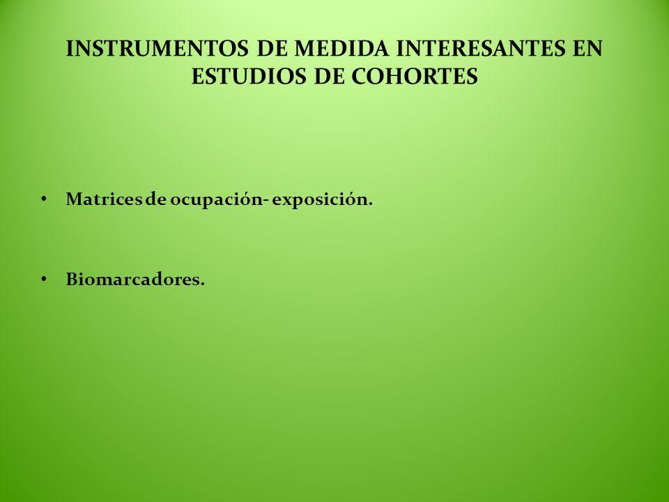 INSTRUMENTOS DE MEDIDA INTERESANTES EN ESTUDIOS DE COHORTES Matrices de ocupación- exposición. Biomarcadores.