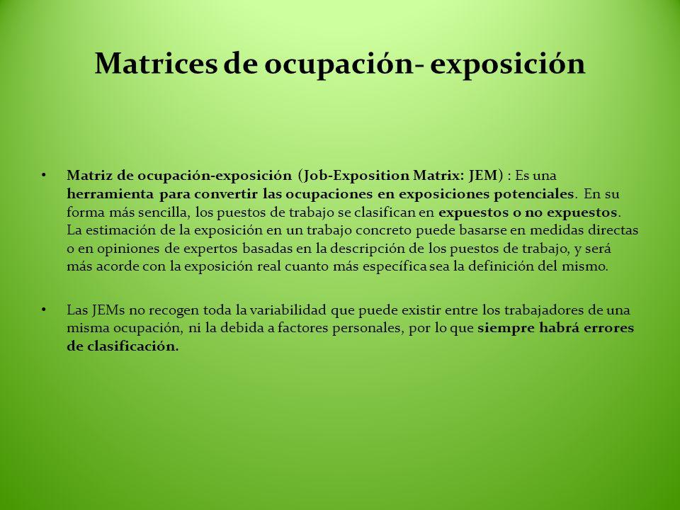 Matrices de ocupación- exposición Matriz de ocupación-exposición (Job-Exposition Matrix: JEM) : Es una herramienta para convertir las ocupaciones en e