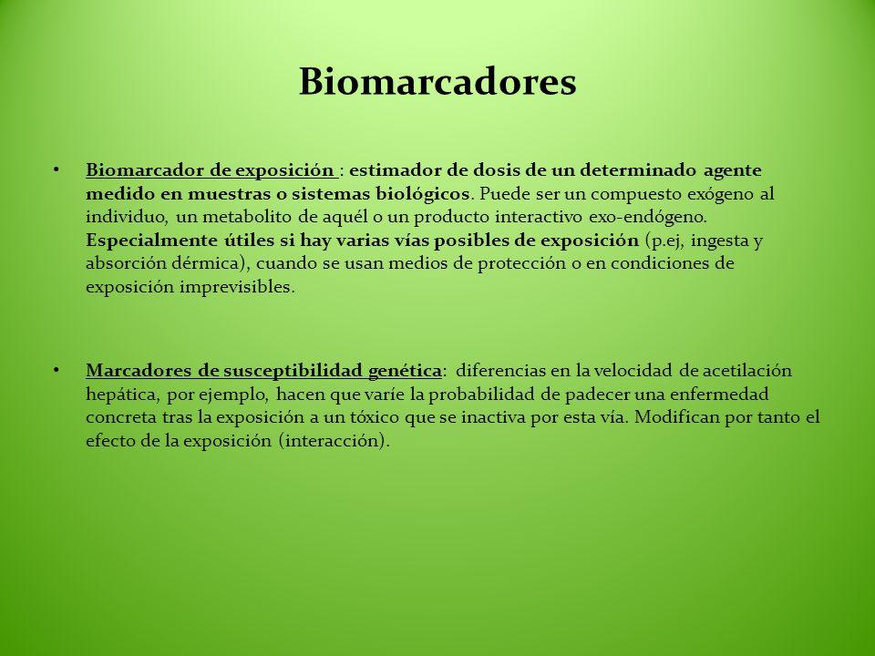 Biomarcadores Biomarcador de exposición : estimador de dosis de un determinado agente medido en muestras o sistemas biológicos. Puede ser un compuesto