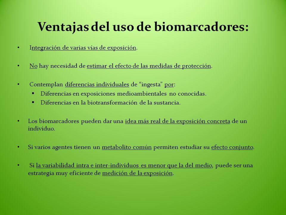 Ventajas del uso de biomarcadores: Integración de varias vías de exposición. No hay necesidad de estimar el efecto de las medidas de protección. Conte