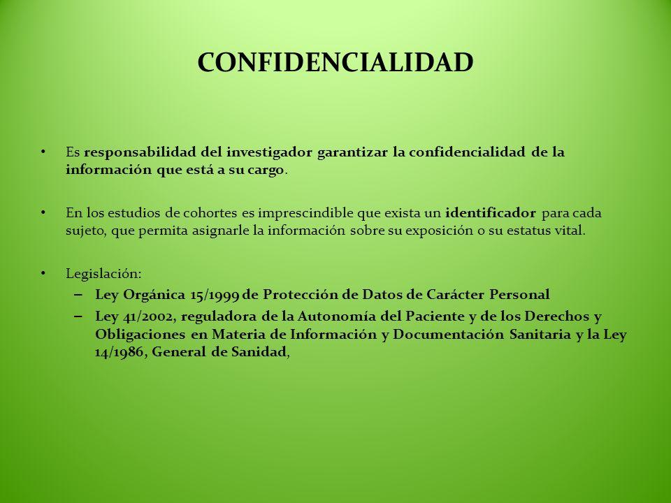 CONFIDENCIALIDAD Es responsabilidad del investigador garantizar la confidencialidad de la información que está a su cargo. En los estudios de cohortes