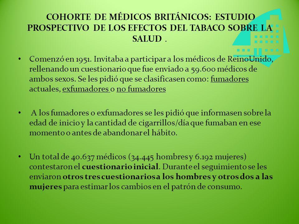 COHORTE DE MÉDICOS BRITÁNICOS: ESTUDIO PROSPECTIVO DE LOS EFECTOS DEL TABACO SOBRE LA SALUD. Comenzó en 1951. Invitaba a participar a los médicos de R