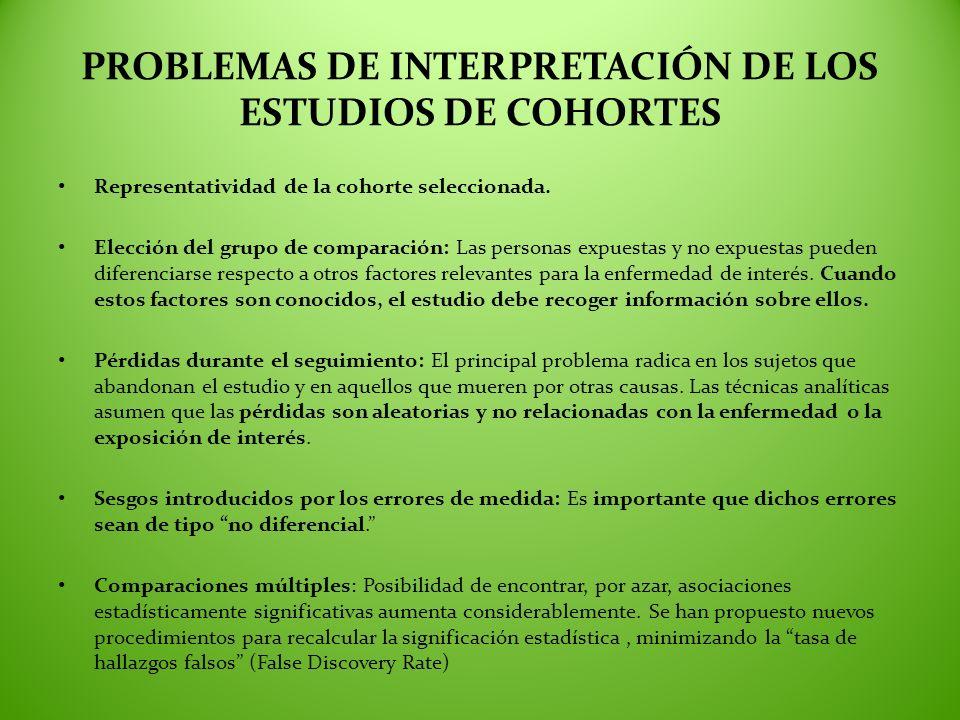 PROBLEMAS DE INTERPRETACIÓN DE LOS ESTUDIOS DE COHORTES Representatividad de la cohorte seleccionada. Elección del grupo de comparación: Las personas