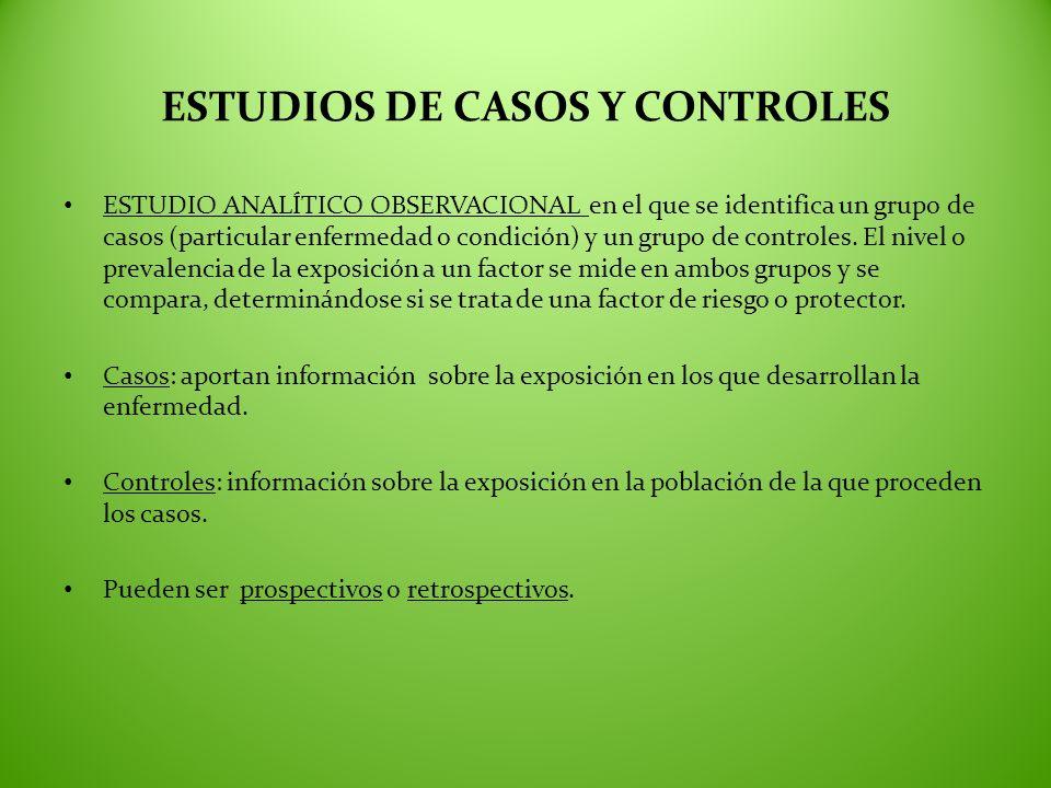 ESTUDIOS DE CASOS Y CONTROLES ESTUDIO ANALÍTICO OBSERVACIONAL en el que se identifica un grupo de casos (particular enfermedad o condición) y un grupo