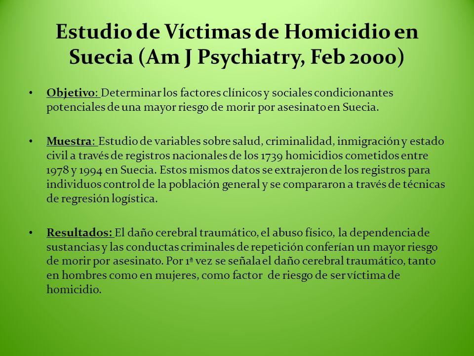 Estudio de Víctimas de Homicidio en Suecia (Am J Psychiatry, Feb 2000) Objetivo: Determinar los factores clínicos y sociales condicionantes potenciale