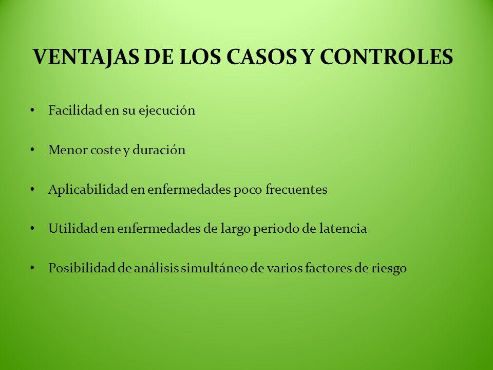 VENTAJAS DE LOS CASOS Y CONTROLES Facilidad en su ejecución Menor coste y duración Aplicabilidad en enfermedades poco frecuentes Utilidad en enfermeda