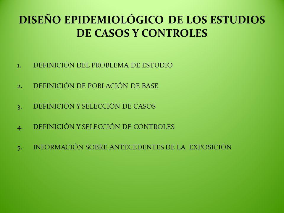 DISEÑO EPIDEMIOLÓGICO DE LOS ESTUDIOS DE CASOS Y CONTROLES 1.DEFINICIÓN DEL PROBLEMA DE ESTUDIO 2.DEFINICIÓN DE POBLACIÓN DE BASE 3.DEFINICIÓN Y SELEC