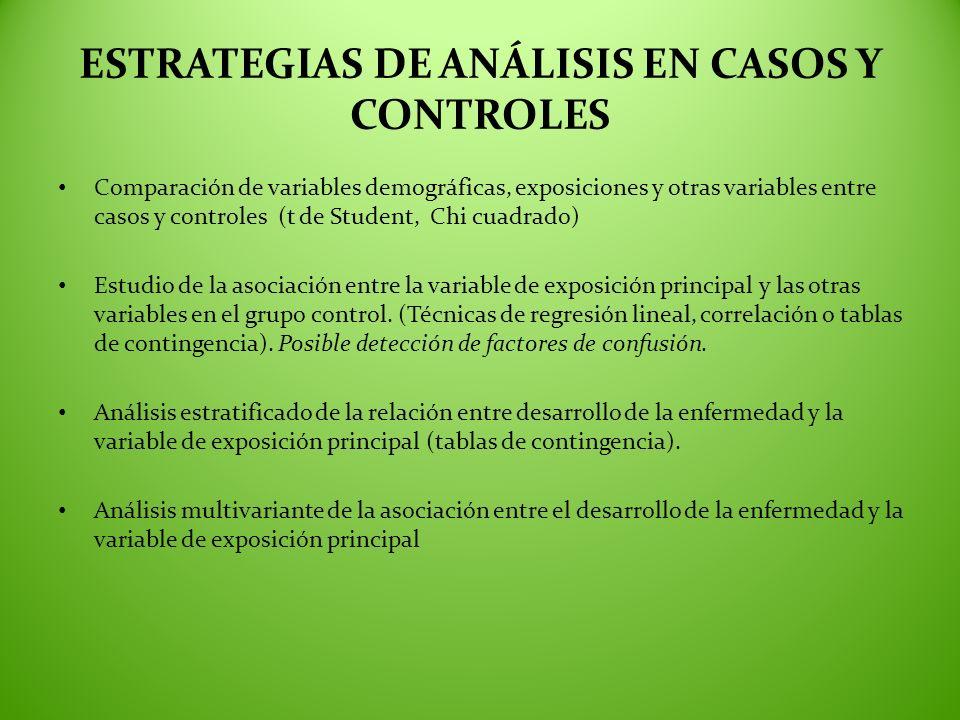 ESTRATEGIAS DE ANÁLISIS EN CASOS Y CONTROLES Comparación de variables demográficas, exposiciones y otras variables entre casos y controles (t de Stude