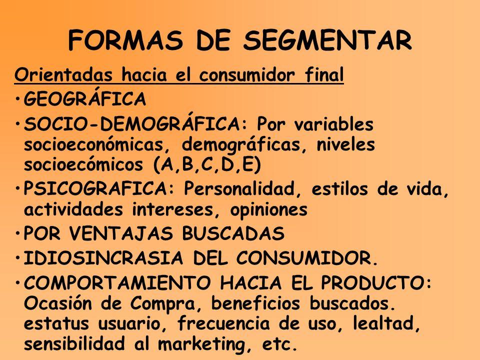FORMAS DE SEGMENTAR Orientadas hacia el consumidor final GEOGRÁFICA SOCIO-DEMOGRÁFICA: Por variables socioeconómicas, demográficas, niveles socioecómi