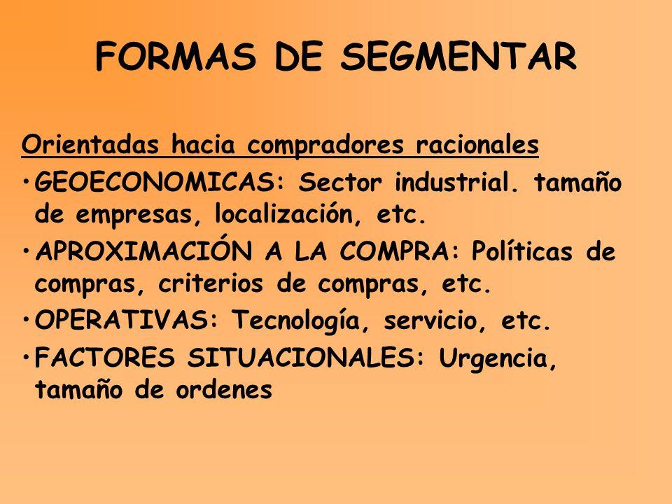 FORMAS DE SEGMENTAR Orientadas hacia compradores racionales GEOECONOMICAS: Sector industrial. tamaño de empresas, localización, etc. APROXIMACIÓN A LA