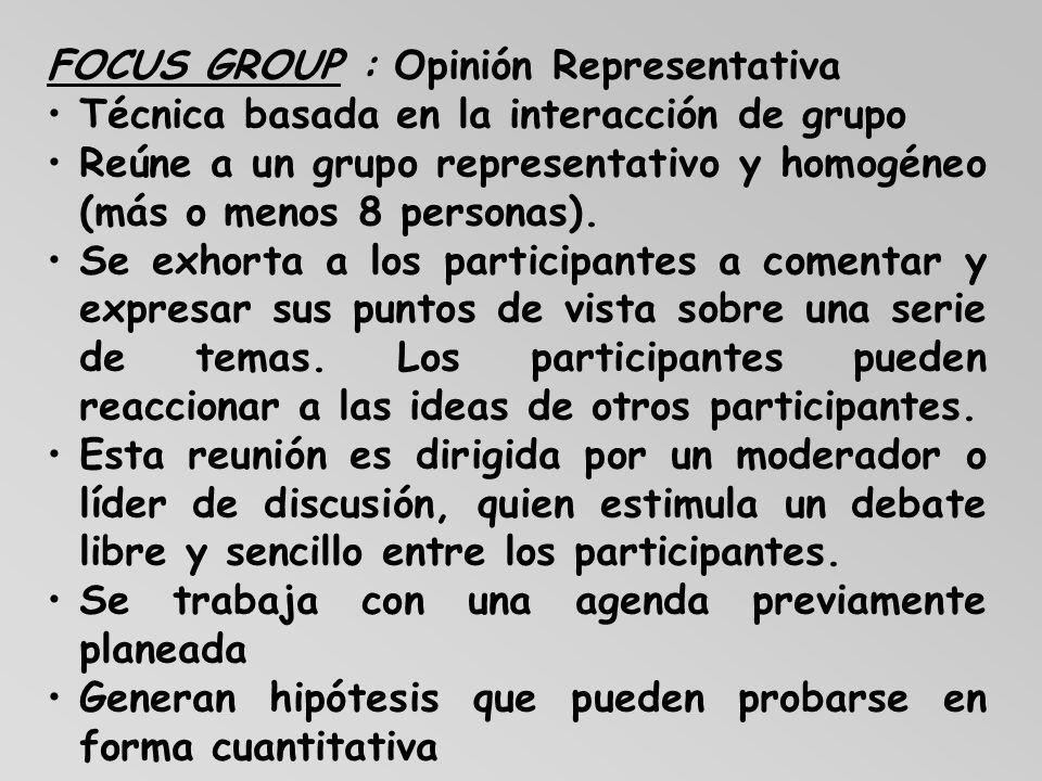 FOCUS GROUP : Opinión Representativa Técnica basada en la interacción de grupo Reúne a un grupo representativo y homogéneo (más o menos 8 personas). S