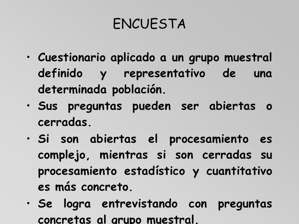 ENCUESTA Cuestionario aplicado a un grupo muestral definido y representativo de una determinada población. Sus preguntas pueden ser abiertas o cerrada