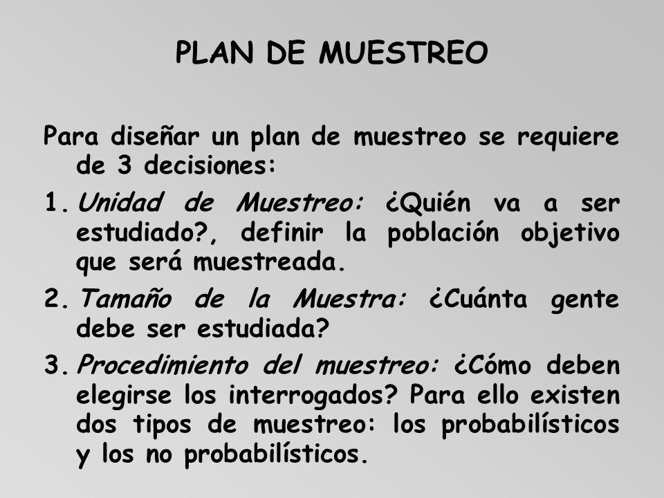 PLAN DE MUESTREO Para diseñar un plan de muestreo se requiere de 3 decisiones: 1.Unidad de Muestreo: ¿Quién va a ser estudiado?, definir la población