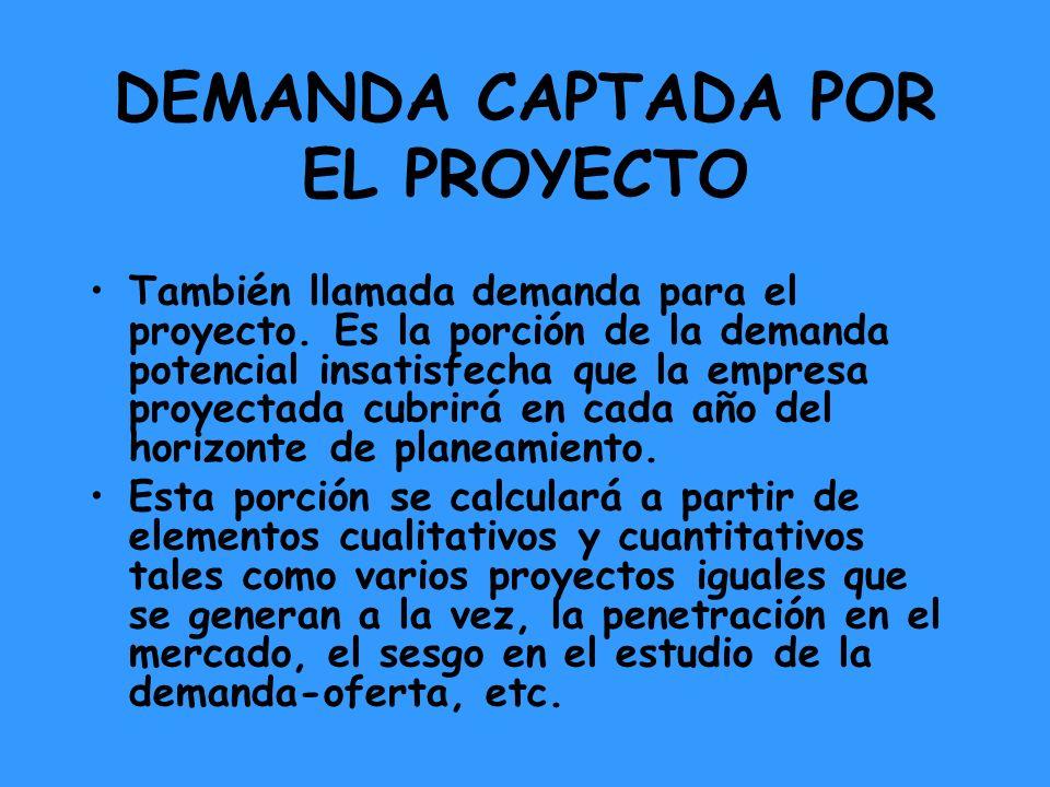 DEMANDA CAPTADA POR EL PROYECTO También llamada demanda para el proyecto. Es la porción de la demanda potencial insatisfecha que la empresa proyectada