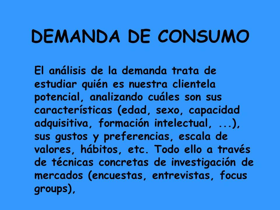 DEMANDA DE CONSUMO El análisis de la demanda trata de estudiar quién es nuestra clientela potencial, analizando cuáles son sus características (edad,