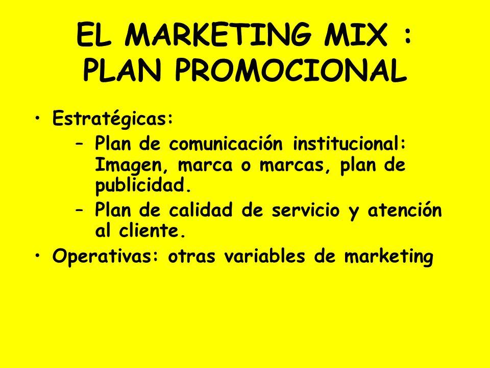 EL MARKETING MIX : PLAN PROMOCIONAL Estratégicas: –Plan de comunicación institucional: Imagen, marca o marcas, plan de publicidad. –Plan de calidad de